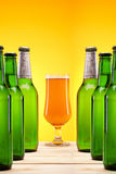 Chilled beer on wooden table Royalty Free Stock Photography