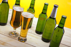 Chilled beer on wooden table Royalty Free Stock Images