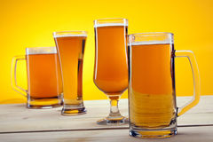 Chilled beer on wooden table Stock Image