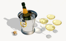 Chilled Champagne. Digital rendering of a bottle of champagne royalty free illustration