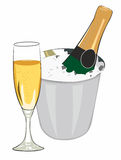 Chilled champagne. Glass and champagne on ice vector illustration