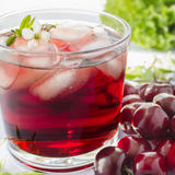 Chilled cherry juice. Cherry juice with fruits and ice close-up, with focus on the flower Royalty Free Stock Photo
