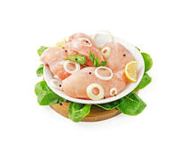 Chilled chicken breast on the plate with tray. Studio isolation Royalty Free Stock Image
