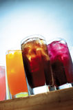 Chilled cooling drinks. Variety of chilled drinks,ranging from cola,sarsaparilla,orange juice royalty free stock photography