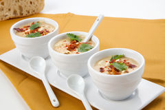 Chilled Corn and Bacon Soup. Three bowls of Chilled Corn and Bacon soup garnished with cooked bacon, fresh cilantro, and smoked paprika stock images