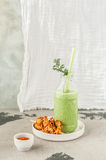 Chilled Cucumber Soup with Prawns Royalty Free Stock Photo