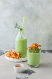 Chilled Cucumber Soup with Prawns Stock Photo