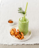 Chilled Cucumber Soup with Prawns Royalty Free Stock Photography