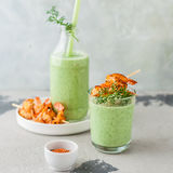 Chilled Cucumber Soup with Prawns Stock Photos