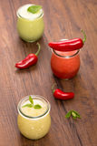 Chilled fruit soups with mint Stock Image