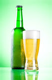Chilled green bottle with condensate Royalty Free Stock Image