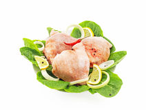 Chilled hip with lettuce. On a white background Royalty Free Stock Photo