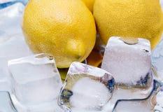 Chilled lemon,  ice, fragment Royalty Free Stock Image
