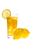 Chilled lemon ice tea over white Royalty Free Stock Photos