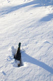 Chilled Naturally. Vertical view of bottle of sparkling wine chilling in snow bank Stock Photography
