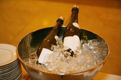 Chilled pink champagne ready for a celebration. Royalty Free Stock Photography