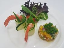 Chilled Prawn Coctktail with Mango Salsa and Mesclun Mix on white plate. Chill Prawn Cocktail with Mango Salsa Royalty Free Stock Images