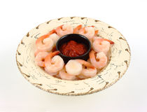 Chilled shrimp with cocktail sauce Royalty Free Stock Image