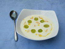 Chilled soup. Chilled garlic and almond gazpacho soup with grapes on a blue tablecloth stock image