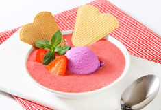Chilled strawberry soup Stock Images