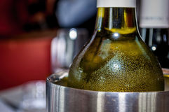 Chilled wine bottle Royalty Free Stock Images