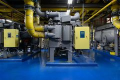 Absorption Chiller Heater in the basement Stock Images