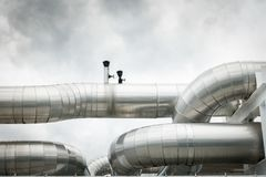 Chiller pipeline and joint connection on pipe rack support Stock Image