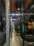 Chiller water pipe in mechanical room royalty free stock photo