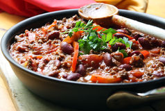 Chilli. A pan of chilli, ready to serve. Soft focus, shallow depth of field stock images