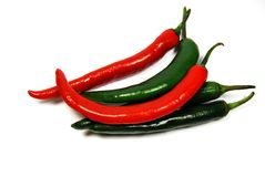 Chilli. Red hot chilli peppers on white background royalty free stock images