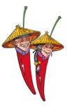 Chilli Asian Men and Woman. Couple of cartoon asian chilli / pepper, man and woman Royalty Free Stock Photos