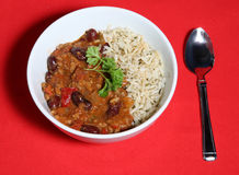 Chilli Bowl. A tasty meal of Chilli con Carne served with Saffron rice royalty free stock photos