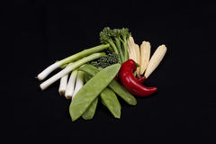 Chilli, broccoli, baby leek, baby corn and mange tout Stock Image