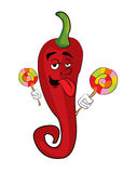 Chilli cartoon with lollipop Stock Images