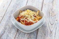 Chilli Cheese fries bowl Stock Image