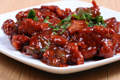 Chilli Chicken In Plate Stock Photos