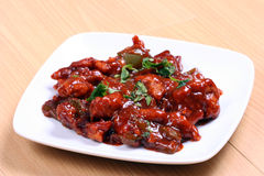Chilli Chicken In Plate Stock Images