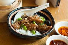 Chilli claypot chicken rice Royalty Free Stock Images