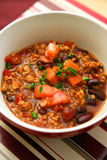 Chilli con carne. Detail of bowl full of chilli con carne Stock Photos