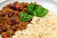 Chilli con Carne with boiled rice Royalty Free Stock Photo