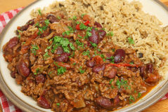 Chilli Con Carne with Brown Rice Stock Images
