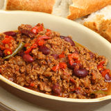 Chilli Con Carne with Crusty Bread Royalty Free Stock Photo