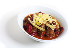 Chilli con carne over white Royalty Free Stock Images