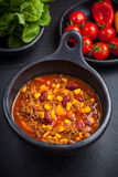 Chilli con carne in pan Stock Photography