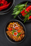 Chilli con carne in pan Royalty Free Stock Photography