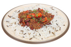 Chilli Con Carne & Rice. Chilli con carne with wild rice Stock Photos