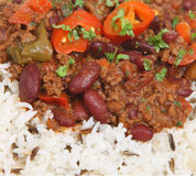 Chilli con Carne & Rice. Cilli con carne with rice close up Stock Image