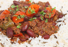 Chilli con Carne and Rice Royalty Free Stock Photo