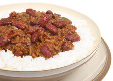Chilli con Carne with Rice Royalty Free Stock Photo
