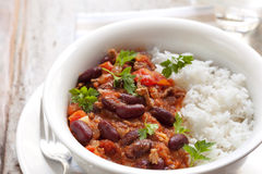 Chilli Con Carne with Rice. Healthy chilli con carne with rice stock photography